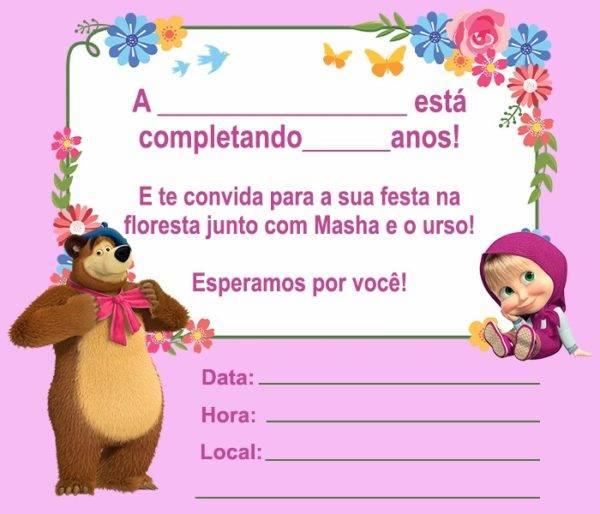 13 Convites da Masha e o Urso para Editar