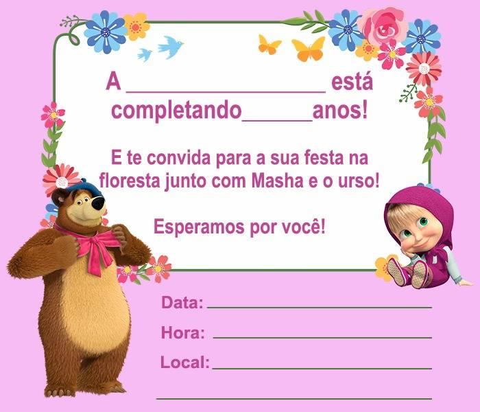 13 Convites Da Masha E O Urso Para Editar Modelos De Convite