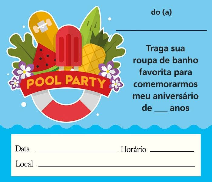 Convite Festa Na Piscina 12 Modelos Divertidos Modelos De Convite