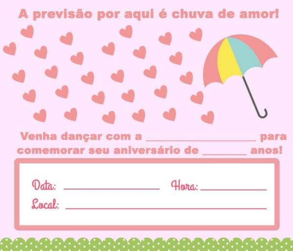 12 Convites de Chuva de Amor para Imprimir