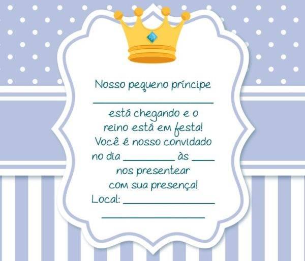 Convite Chá de Bebê Príncipe – 16 Modelos Especiais!