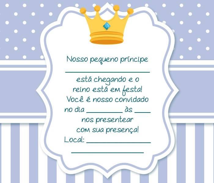 Convite Chá De Bebê Príncipe 16 Modelos Especiais Modelos De