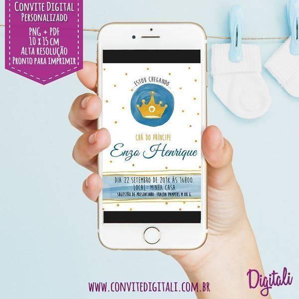 O tema elefantinho é outro clássico para o convite de chá de bebê virtual!