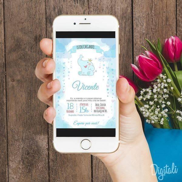O chá de bebê do marinheiro pode ganhar um lindo convite virtual com as cores clássicas do tema!