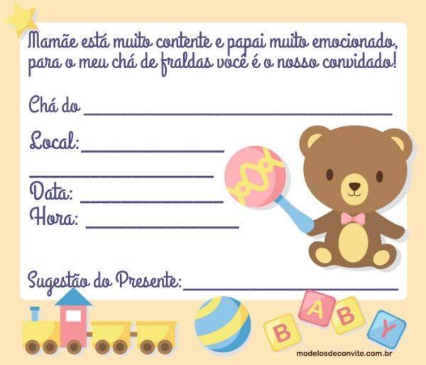 37 Convites do Bebê Ursinho para se Encantar!