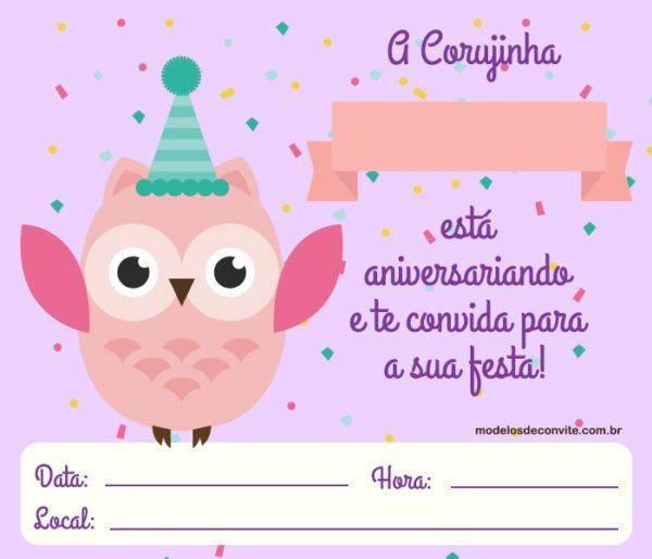 Convite Corujinha +10 Modelos Diferenciados!