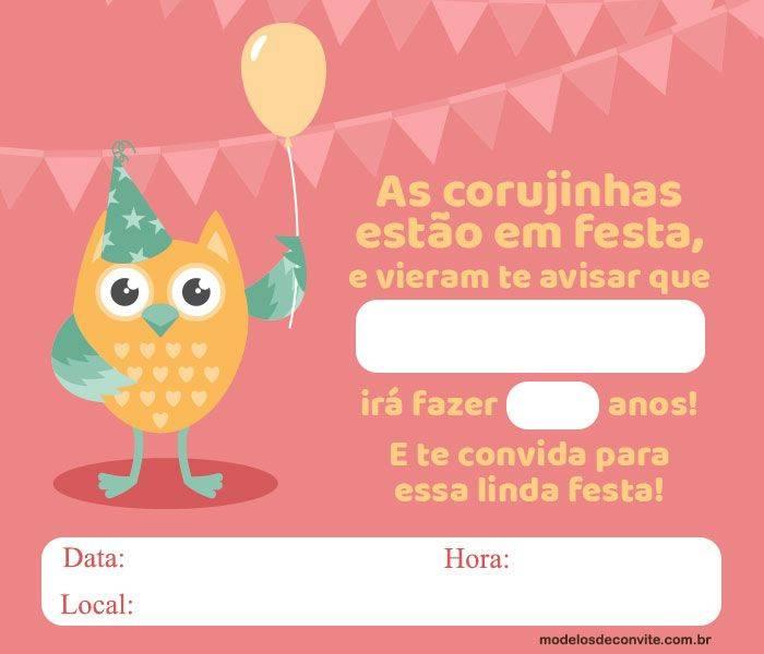 Convite Corujinha 10 Modelos Diferenciados Modelos De Convite