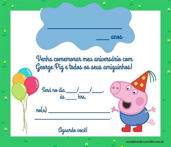 18 Convites Do George Pig Para Editar E Imprimir Modelos De Convite