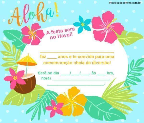 Convite Havaiano: 23 Modelos Incríveis para sua Festa no Havaí!