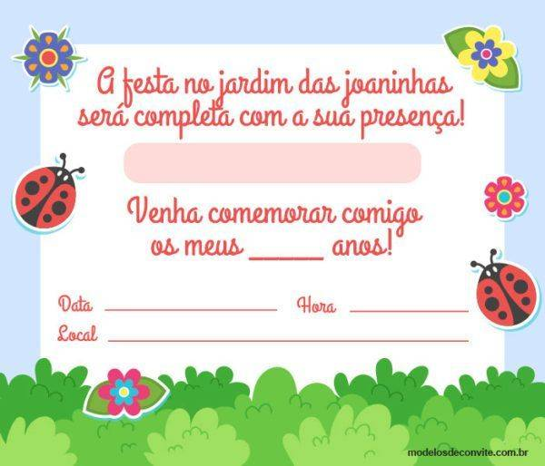 21 Convites de Joaninha para Festa no Jardim