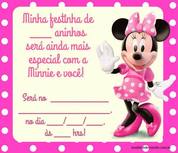 24 Convites da Minnie Rosa com Estampas Delicadas