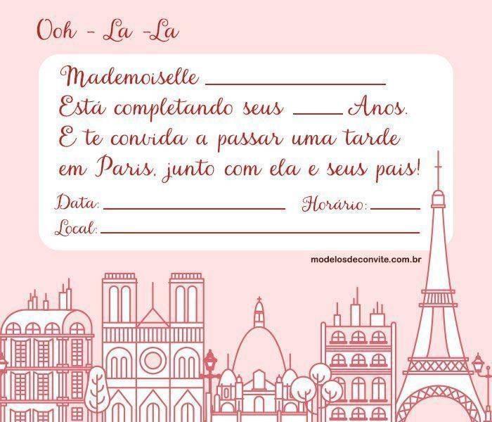 Convite Paris 10 Modelos Delicados Modelos De Convite