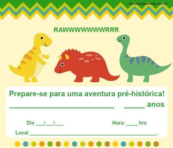 38 Convites de Dinossauro Impressionantes!