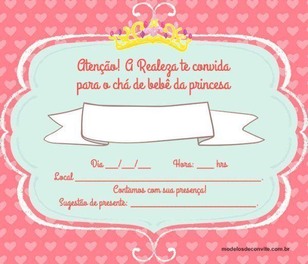 27 Convites para Chá de Fraldas de Princesa com Detalhes Deslumbrantes!