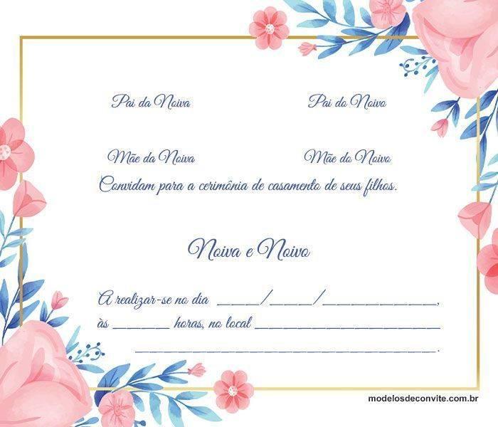 Esse convite de casamento floral imprime delicadeza, simplicidade e sofisticação ao mesmo tempo! Você pode baixar e editar em gráfica colocando a frase que preferir e inserindo as informações nos locais já demarcados!