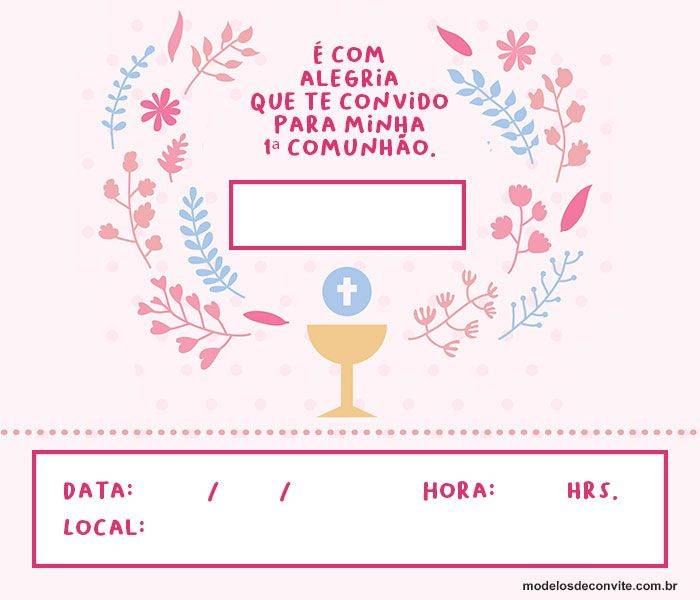 35 Convites De Primeira Comunhão Para Meninos E Meninas
