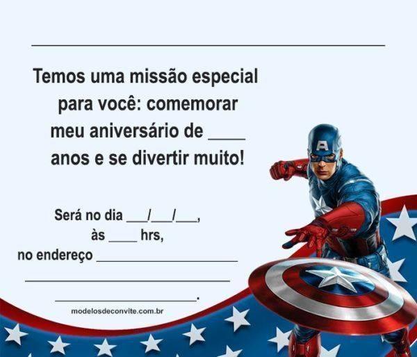 22 Convites do Capitão América que vão te Surpreender!