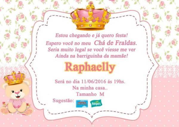 27 Convites Para Chá De Fraldas De Princesa Com Detalhes
