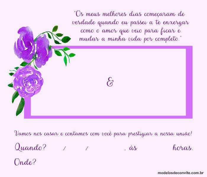 Para os casais ainda mais românticos, o convite de casamento simples para imprimir que mescla tons de roxo e lilás pode ser a opção ideal!