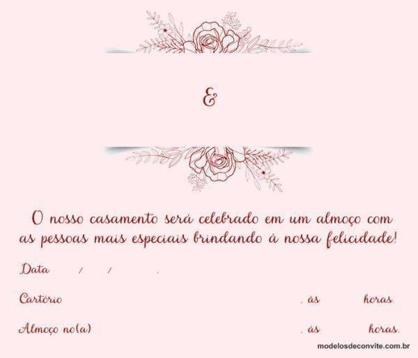 Convite para Almoço de Casamento – Casamento Civil