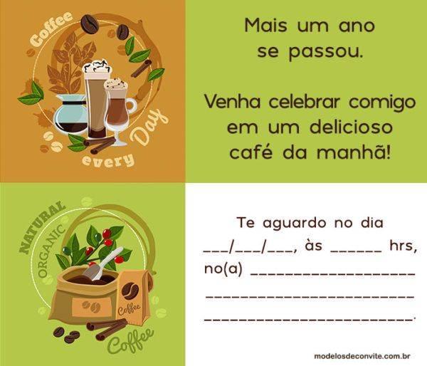 Convites para Café da Manhã para Eventos e Aniversários!