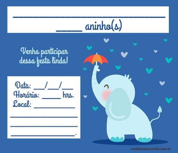 Convite do Elefantinho: 17 Modelos para Festa de Aniversário!