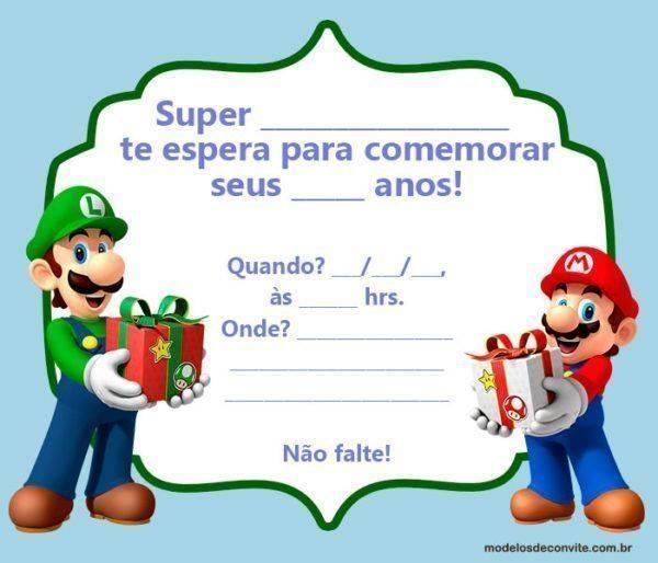 +20 Convites Mario Bros e sua Turma!
