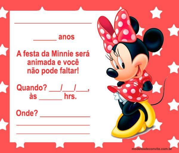 +25 Convites da Minnie Vermelha Tradicionais!