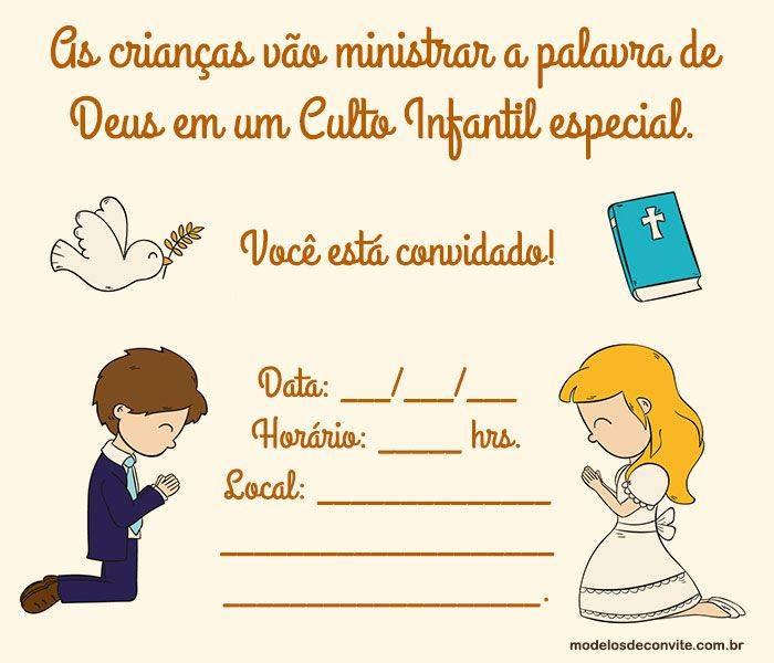 Convites Para Culto Infantil Cheios De Graca E Delicadeza