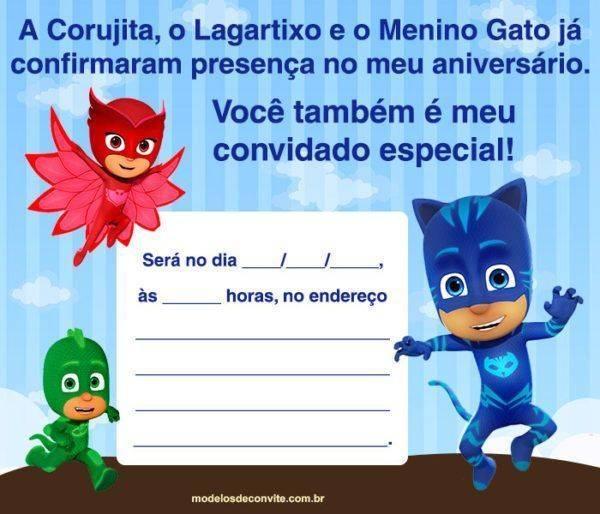 42 Convites PJ Masks com o Menino Gato, Lagartixo e Corujita!