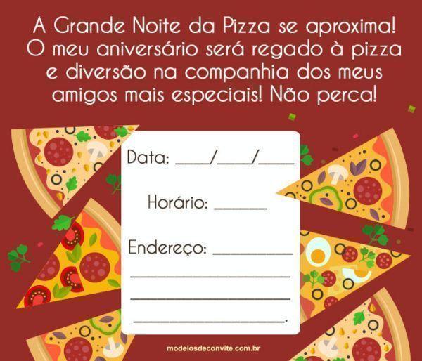 Convite Noite da Pizza: 24 Convites para Pizza Party!