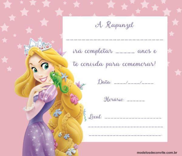 Convite Rapunzel: 25 Modelos Encantadores com a Princesa!