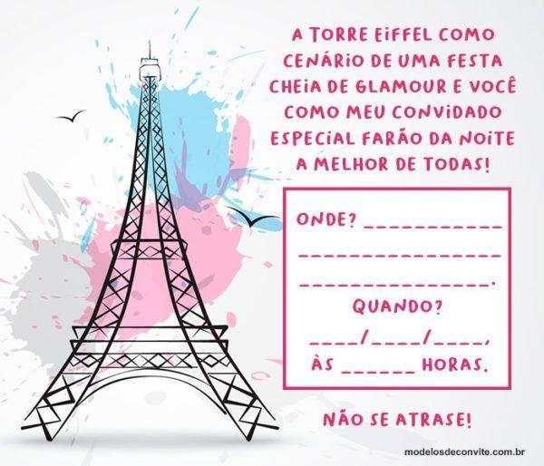Convite Torre Eiffel: 20 Modelos Sofisticados Direto de Paris!