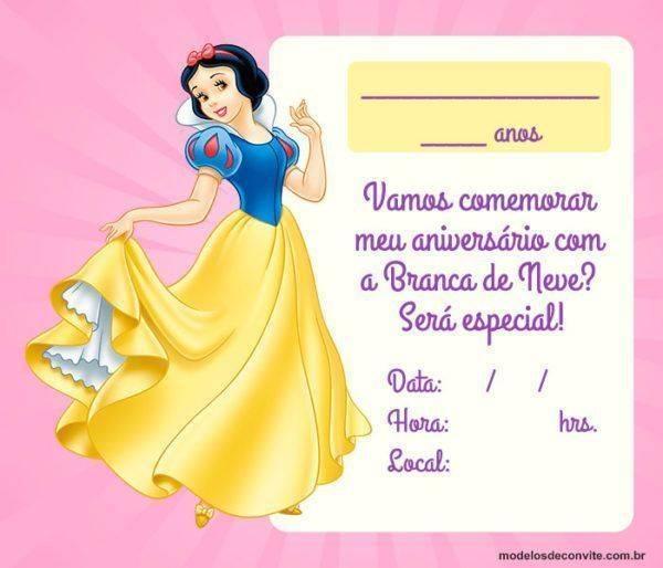51 Convites da Branca de Neve: Digitais, Artesanais e para Imprimir!