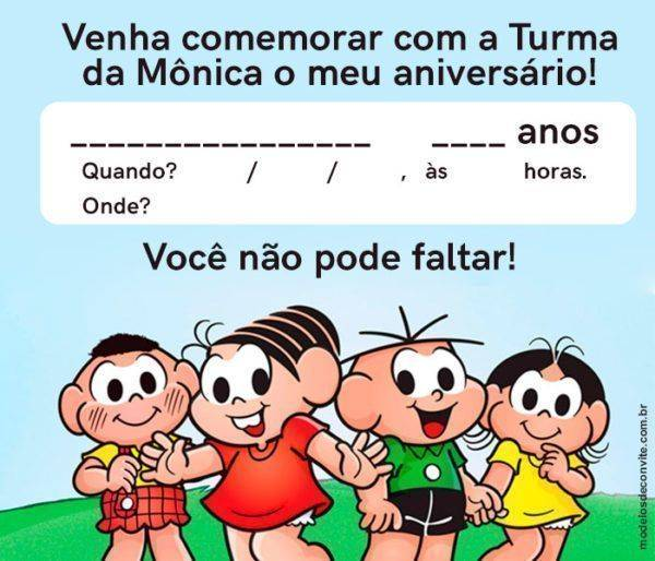 +35 Convites da Turma da Mônica Super Animados!
