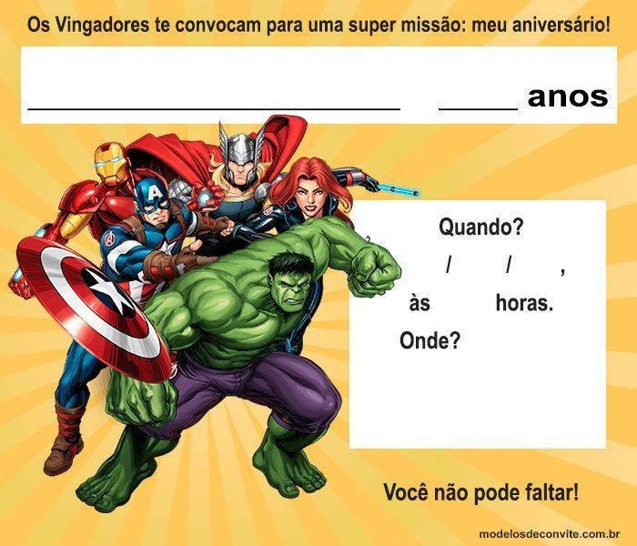 Convite Vingadores: 47 Modelos Para Editar E Imprimir