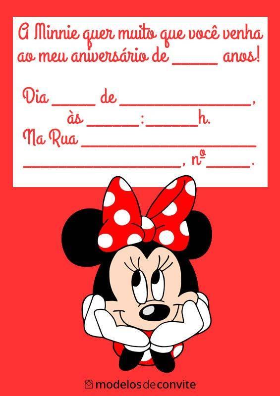 40 Convites Da Minnie Vermelha Para Editar E Imprimir Modelos