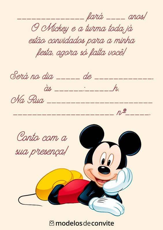 50 Convites Do Mickey Editáveis E Personalizados Modelos